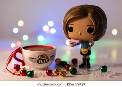 Edmonton, AB, Canada- Dec 08, 2018: Funko Pop Friends Rachel Greene serving wish you a Merry Christmas!