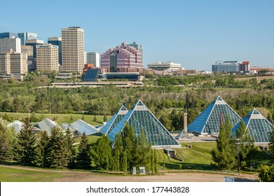 EDMONTON, AB, CANADA - MAY 28: Summer view of a modern building (muttart conservatory) and its reflections on May 28, 2008 in Edmonton, Alberta, Canada. In the foreground (right) is the conservatory.