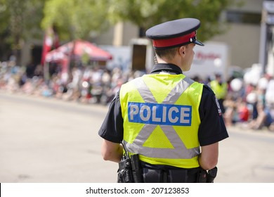 EDMONTON, AB, CANADA-July 18, 2014: Edmonton Police Officer as seen at the K-Days Parade on July 18th, 2014.