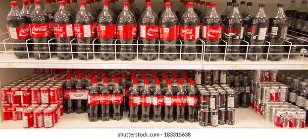 EDMONTON, AB, CANADA-March 23, 2014: Coca Cola products are on display in a grocery store on March 23rd, 2014.