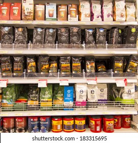 EDMONTON, AB, CANADA-March 23, 2014: Assorted coffee is on display in a grocery store on March 23rd, 2014.