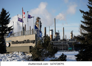 Edmonton, AB/CANADA – MARCH 8 2020: Imperial Oil's ESSO Strathcona Refinery, the largest refinery in Western Canada, is entering its 73rd year of production.  It produces 187,000 bbl/d of refined oil.