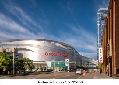 Edmonton, Alberta - August 7, 2020: the Ice District in Edmonton Alberta, including Rogers Place arena.
