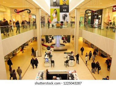 Edmonton, Alberta, Canada - December 27, 2017: The West Edmonton Mall, the largest shopping mall in North America, during the Holiday Season.