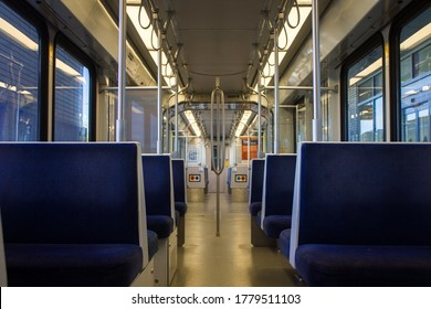 Edmonton, Alberta / Canada - July 18, 2020: Inside an empty Edmonton Light Rail Transit LRT train leaving Century Park station.