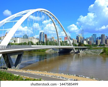 Edmonton, Alberta / Canada - July 2019: The Walterdale Bridge - a suspension bridge across the North Saskatchewan River.