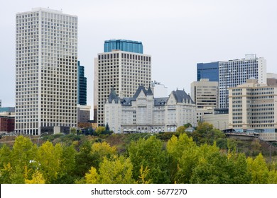 Edmonton, Alberta, downtown business towers and skyline in the fall.