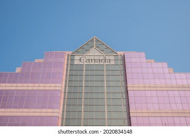 Edmonton, Alberta - July 30, 2021: Looking up view of the federal building in Edmonton's downtown.