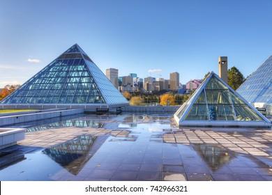 EDMONTON, ALBERTA/CANADA- OCTOBER 17, 2017: Muttart Conservatory in Edmonton, Canada [Edmonton] The pyramids house different plant biomes