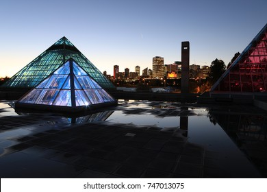 EDMONTON, ALBERTA/CANADA- OCTOBER 17, 2017: Muttart Conservatory in Edmonton, Canada after dark [Edmonton] The pyramids house different plant biomes