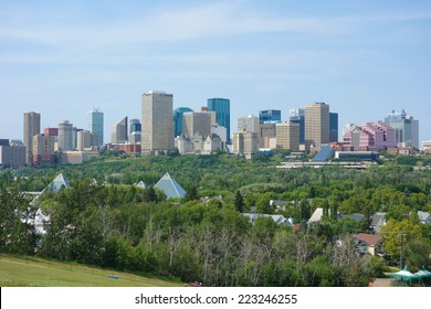 EDMONTON, CANADA - AUGUST 12, 2014: View of the modern city centre of Edmonton in Canada