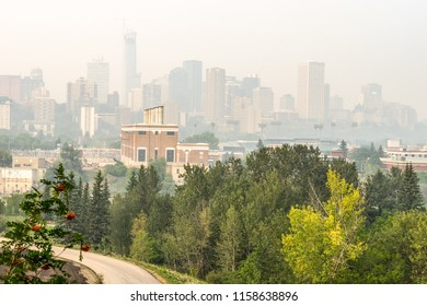 Edmonton, Canada, August 17,2018: City downtown covwerd with heavy wildfire smoke