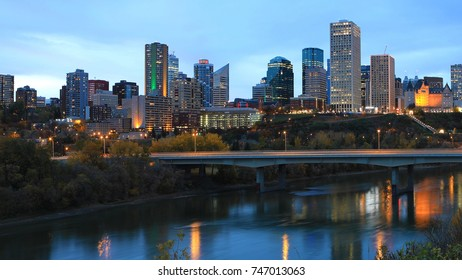 The Edmonton, Canada city center at night
