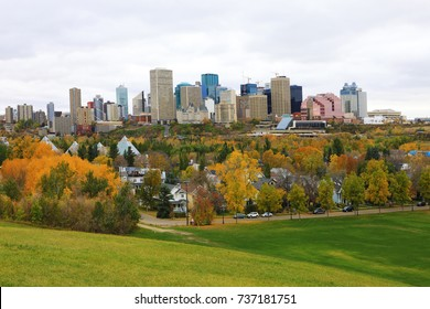 An Edmonton, Canada cityscape with colorful aspen in fall