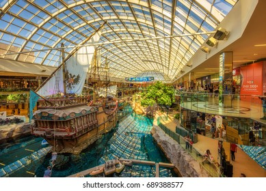EDMONTON, CANADA - JULY 7, 2017 : St.Maria pirate vessel in the West Edmonton Mall. Its the largest shopping mall in North America and the tenth largest in the world.