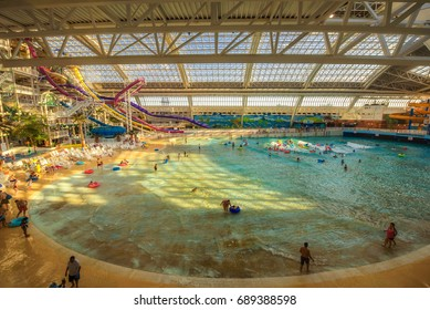 EDMONTON, CANADA - JULY 7, 2017 : World Waterpark in the West Edmonton Mall. Its the largest shopping mall in North America and the tenth largest in the world.