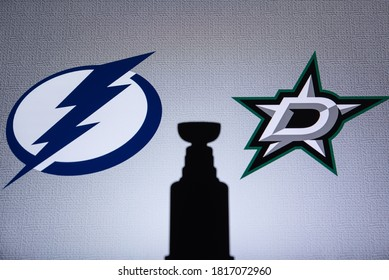 EDMONTON, CANADA, SEPTEMBER. 16. 2020: NHL Stanley Cup 2020 Final. Tampa Bay Lightning vs Dallas Stars. Silhouette of famous hockey trophy Stanley Cup.