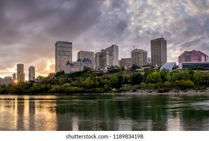 Edmonton, Canada - September 2, 2018: View of Edmonton's beautiful skyline along the Saskatchewan River at night. Edmonton is located in Canada's province of Alberta.