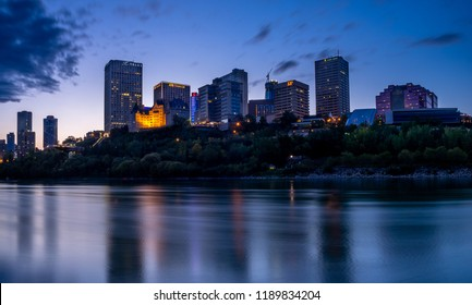 Edmonton, Canada - September 2, 2018: View of Edmonton's beautiful skyline along the Saskatchewan River at night. Edmonton is located in Canada's province of Alberta.