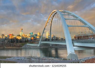Edmonton City Panorama At Sundown
