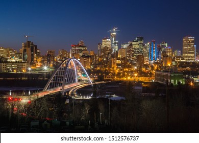 Edmonton skyline and Waterdale bridge at night