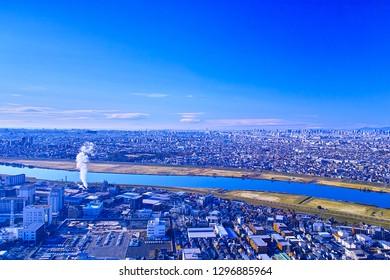 Edogawa Ward Tokyo, Ichikawa City Chiba prefecture cityscape and factory