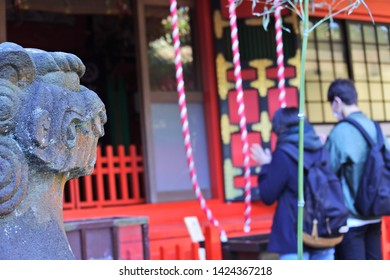 Edogawa/Kanagawa/Japan - 01/02/2018: The japanese new year traditional Hatsumode (the first shrine visit of the year).
