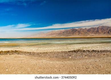 Edom Mountains, Desert and water pond, Jordan