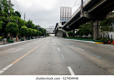 EDSA, Metro Manila, Philippines - February 2016: Very wide street/avenue with no cars on it.