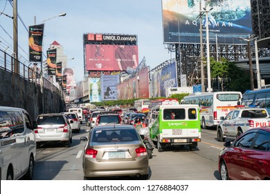 EDSA, Philippines - December 27, 2018 - a busy highway after Christmas day