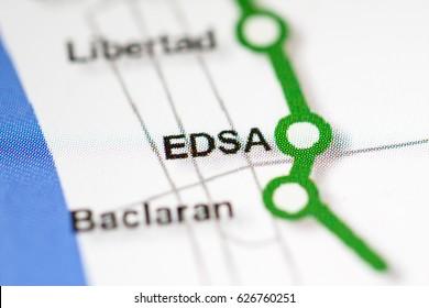 EDSA Station. Manila Metro map.