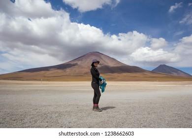 EDUARDO AVAROA, BOLIVIA - JANUARY 12 2018: an unidentified woman in Eduardo Avaroa Andean National Wildlife Reserve, Bolivia, South America