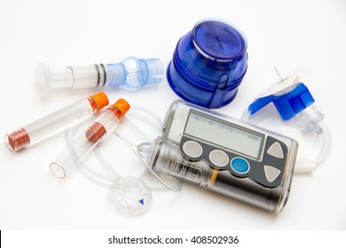 Education about controlling diabetes - insulin pump for continuous subcutaneous insulin infusion - background isolated on white - care, concept, test, monitor