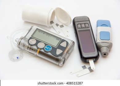 Education about controlling diabetes - using insulin pump and blood sugar measurements for thoroughly insulin treatment - Diabetic concept, test, care, patient, monitor