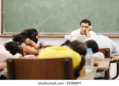 Education activities in classroom at school, sleeping all