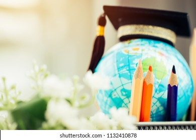 Education in Australia, Pencils box with Earth globe model map in basket. Concept for global business, communications, politics or save world environmental for learning world wide in online market.