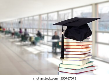 education and back to school concept with very blurry hall of school and book