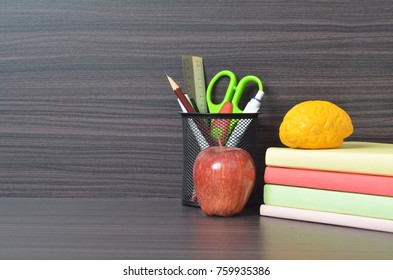 Education concept and back to school concept: books, stationery, study table decoration, copy space