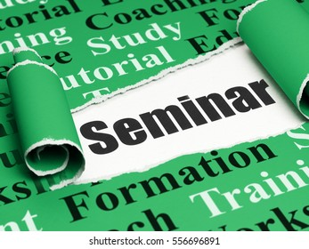 Education concept: black text Seminar under the curled piece of Green torn paper with  Tag Cloud, 3D rendering