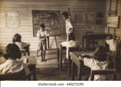 Education concept, blurred Student punishment by beating