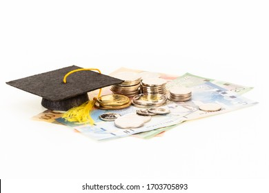 Education concept with coins and mortar board