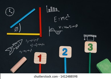 Education concept with Creativity mathematics on chalkboard. Wiskunde Formules on  schoolbord.