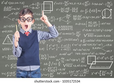 Education concept with funny school boy in front of a chalkboard full of equations