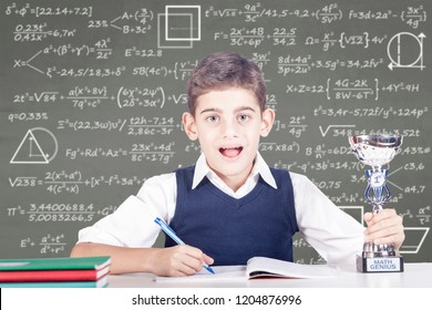 Education concept with genius school boy winner of a math competition