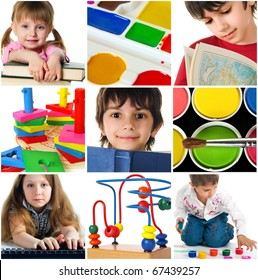 Education concept. Group of carefree children