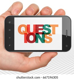 Education concept: Hand Holding Smartphone with Painted multicolor text Questions on display, 3D rendering