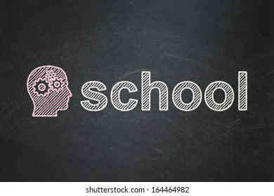 Education concept: Head With Gears icon and text School on Black chalkboard background, 3d render