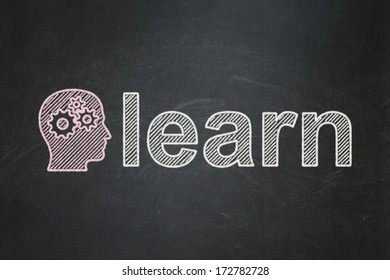 Education concept: Head With Gears icon and text Learn on Black chalkboard background, 3d render