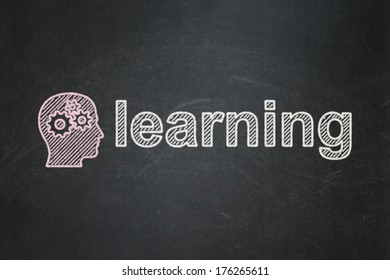 Education concept: Head With Gears icon and text Learning on Black chalkboard background, 3d render