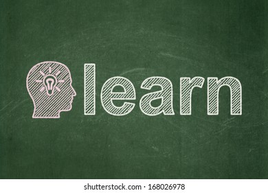 Education concept: Head With Light Bulb icon and text Learn on Green chalkboard background, 3d render